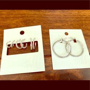 H&M Diamond Hoop Earrings